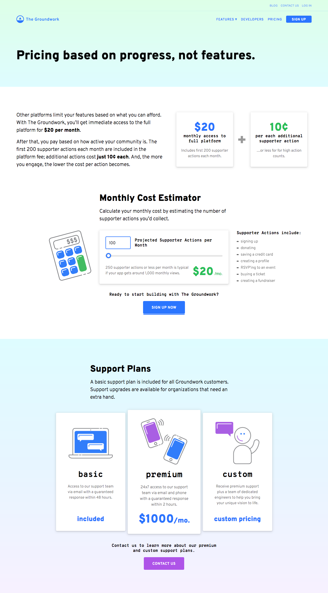 pricing page snippet