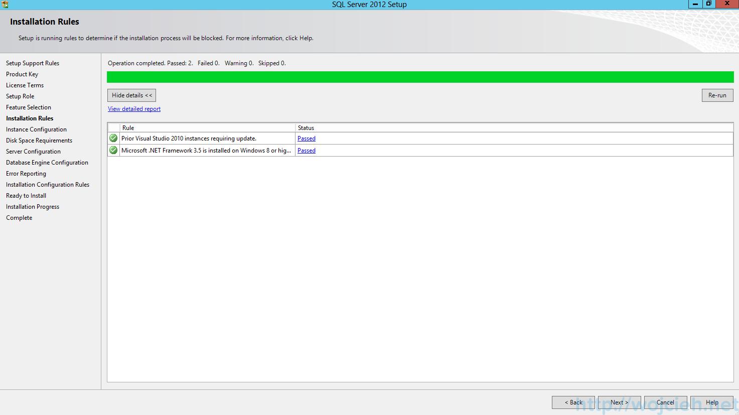 SQL Server 2012 SP1 - Installation Rules