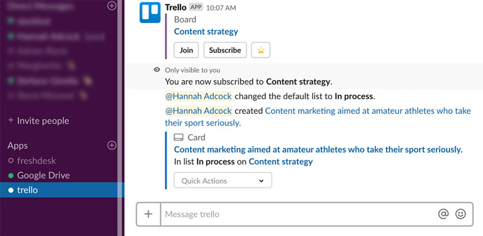 screenshot of Trello integration