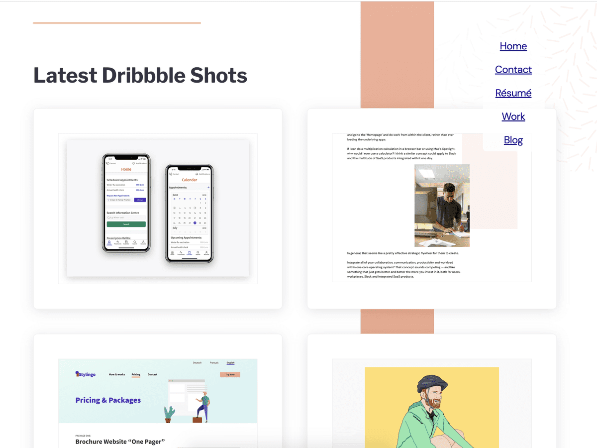 Exploring layouts for the Dribbble Gallery section of my website, which you're viewing now