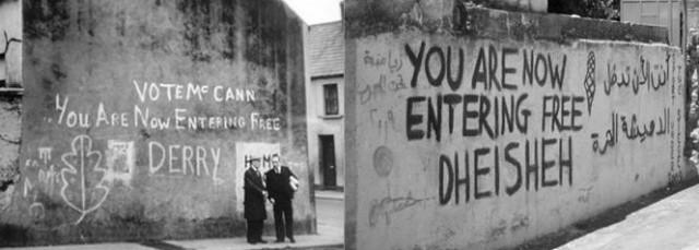 Figure 3. 'One': Graffiti in Derry and Deheisha. Artwork by John Johnston (2015)
