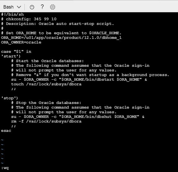 Creating the dbora file on Azure