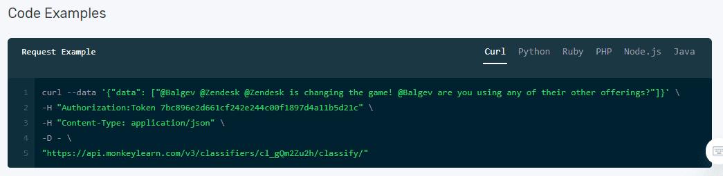 API code snippet