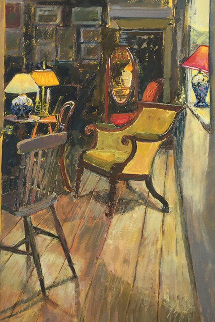 Studio Interior with Lamps gouache painting
