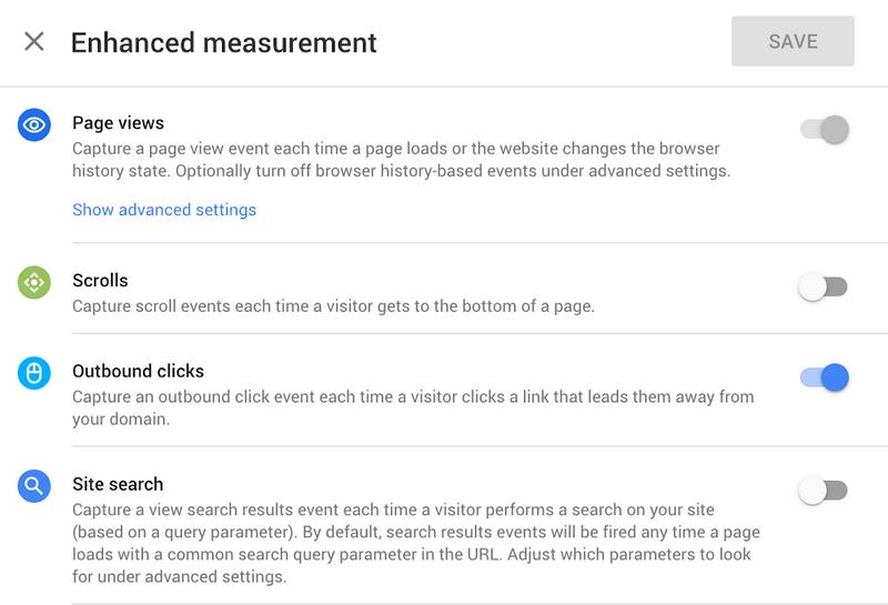 Enhanced Measurements in the new Google Web + App Analytics Property