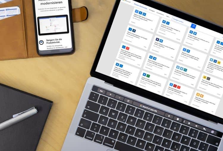 Power Automate mit Smartphone und Laptop