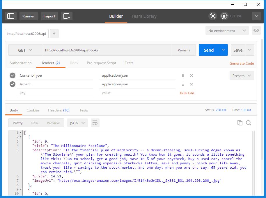Postman response in JSON