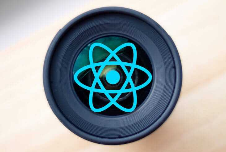 A camera lens embossed with the React logo