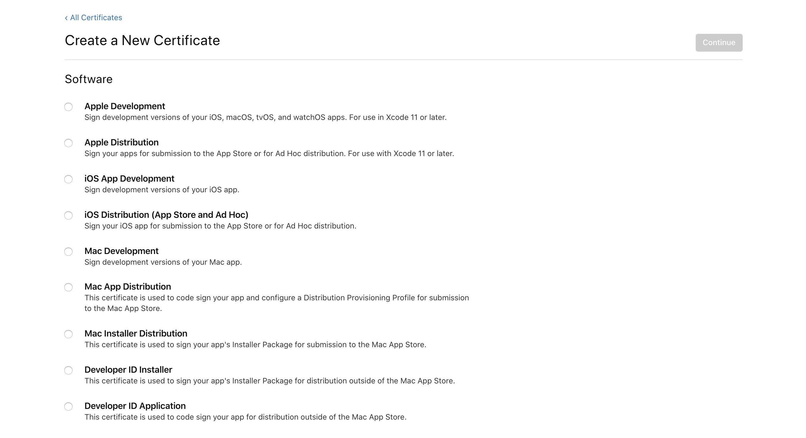 List of possible certificate types from Apple.