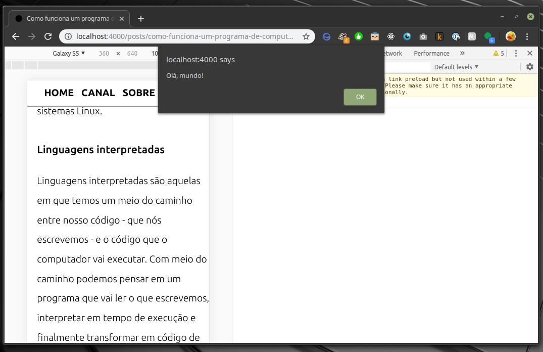 Olá, mundo em JavaScript