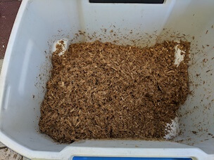 Hydrated sawdust and bran