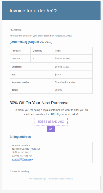 Existing order email