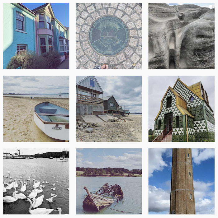 A screenshot of my instagram page, showing 9 squares of houses, beaches, swans, rocks, drains, and boats