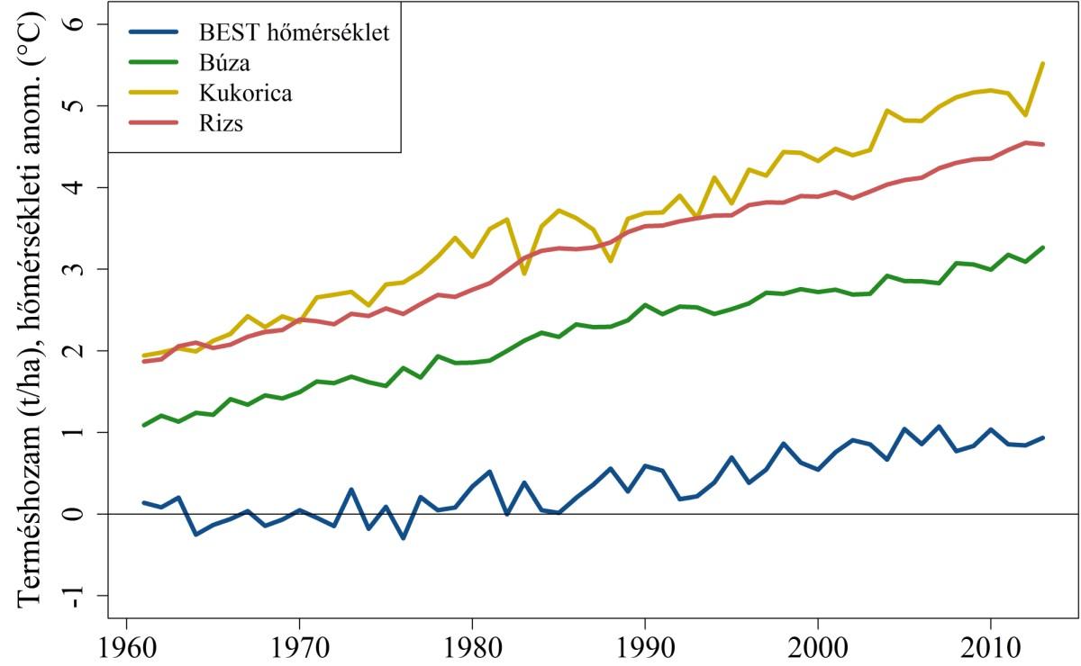 3. ábra: A BEST globális átlaghőmérsékletek és a FAO globális termésátlagok alakulása 1960-tól 2013-ig