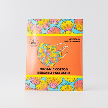 Meli Wraps   100% GOTS Organic Cotton Face Mask-- Shells