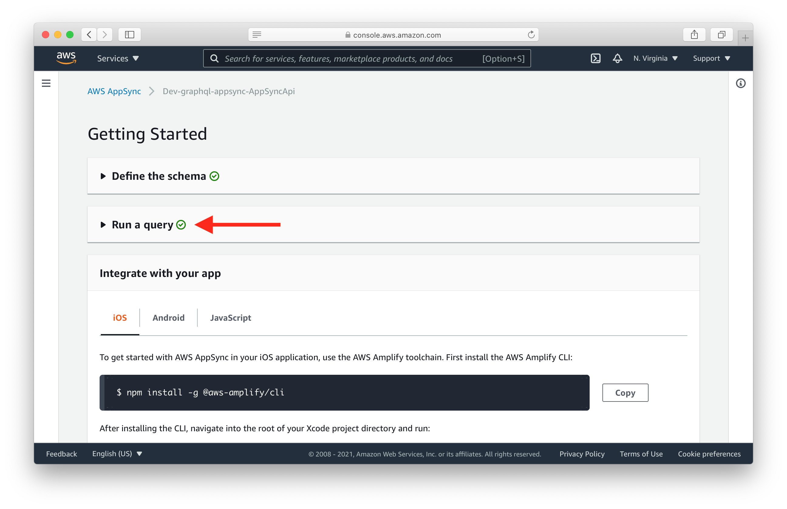 Click Run a query in the AWS AppSync console