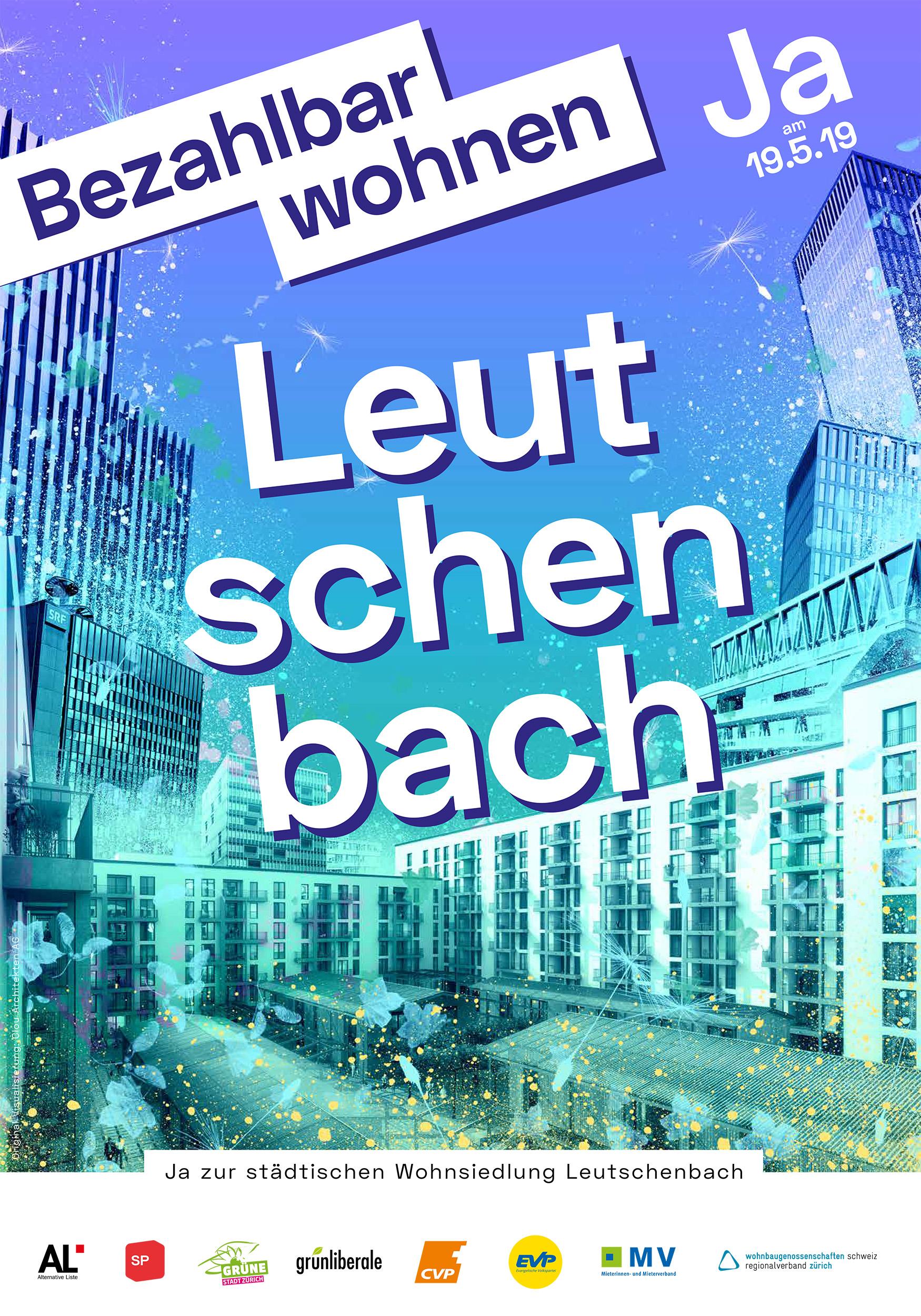 Leutschenbach Plakat. Häusercollage in bunten Farben.