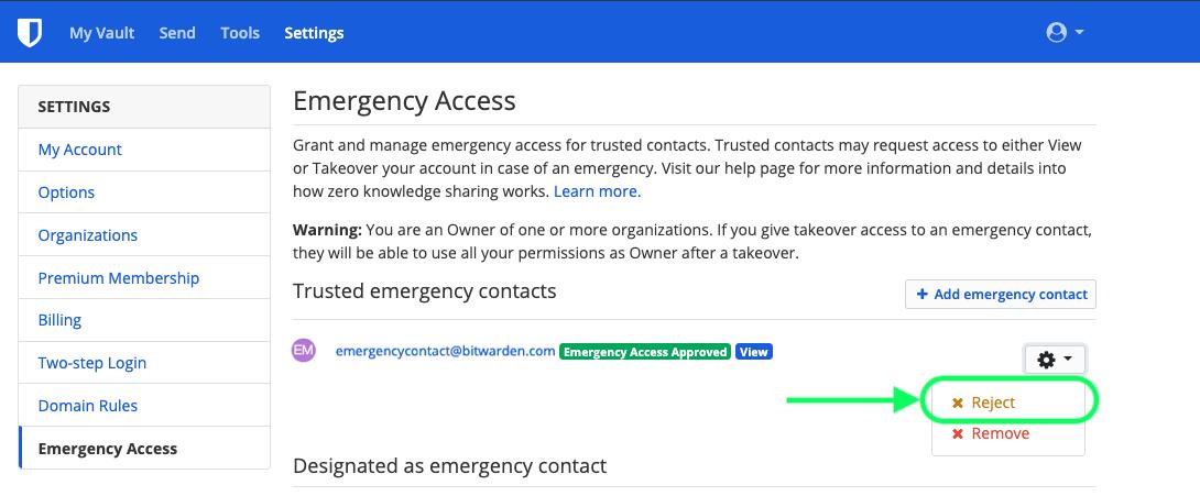 Revoke Emergency Access