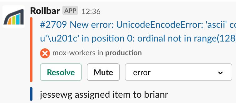 Activity on a Slack notification