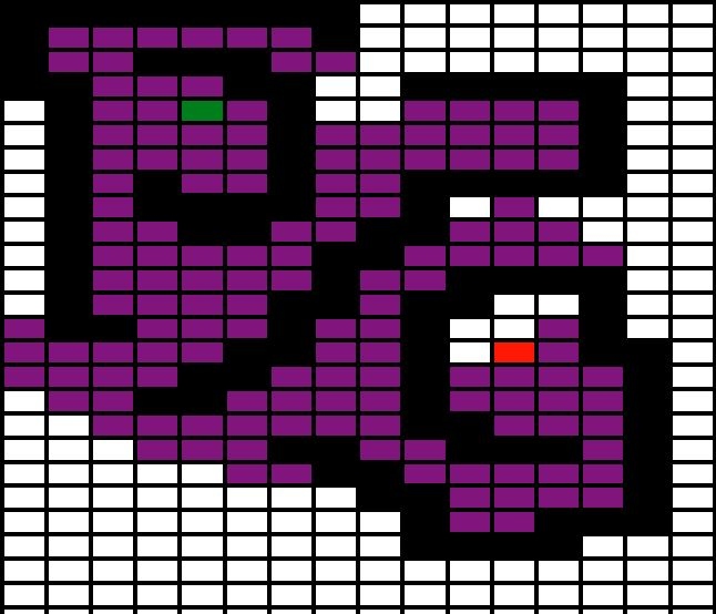 A grid depicting a path finding algorithm