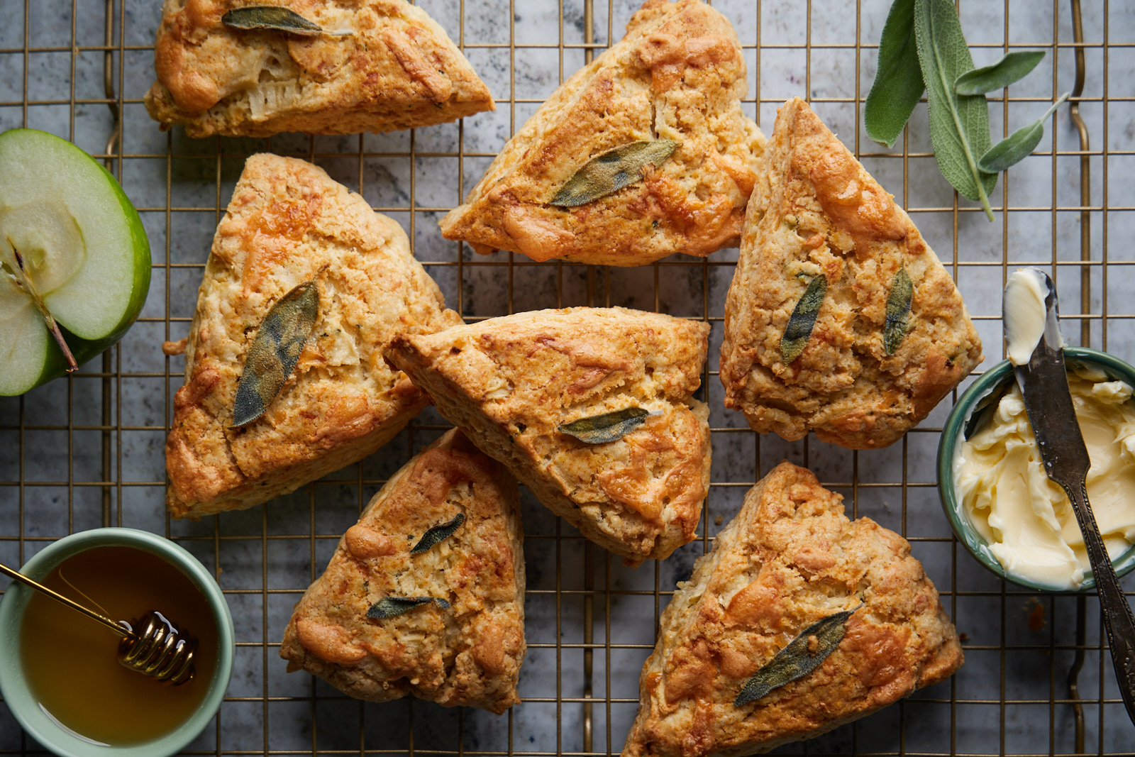 Apple Cheddar Sage Scones