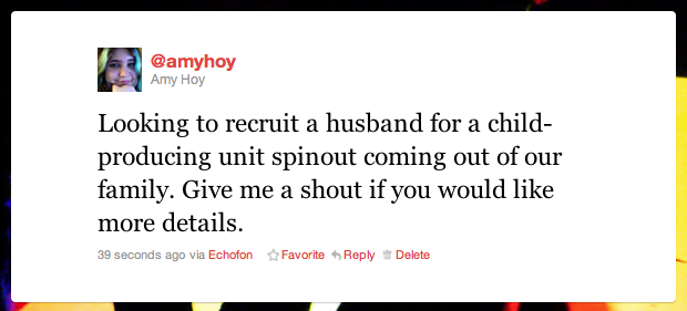"Parody tweet I made\: ""Looking to recruit a husband  for a child\-producing unit spinout coming out of our family\"""