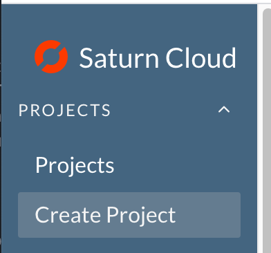 Screenshot of side menu of Saturn Cloud product with Create Project selected