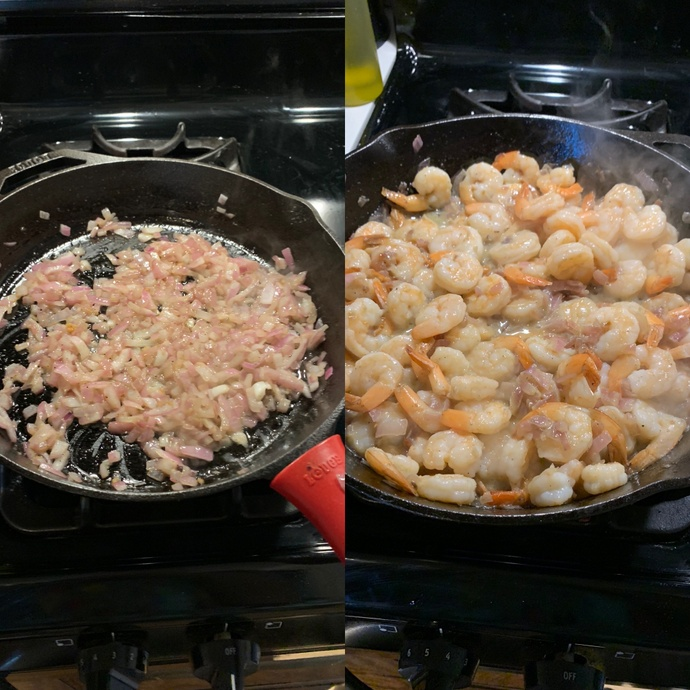 Cooking the red onions and the shrimp