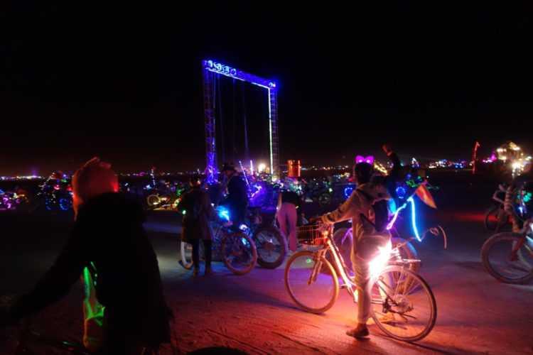 Burning Man Bikes at night on espalade