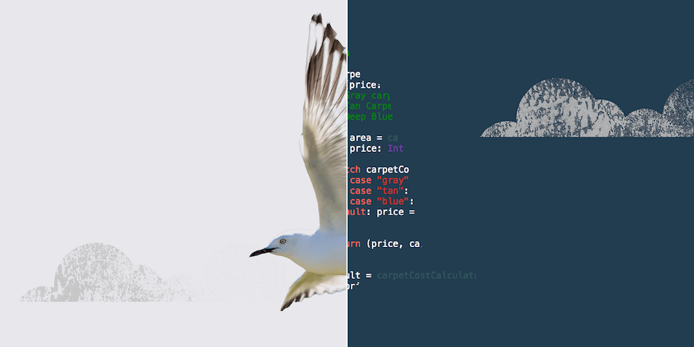 An illustration of a white bird next to some code