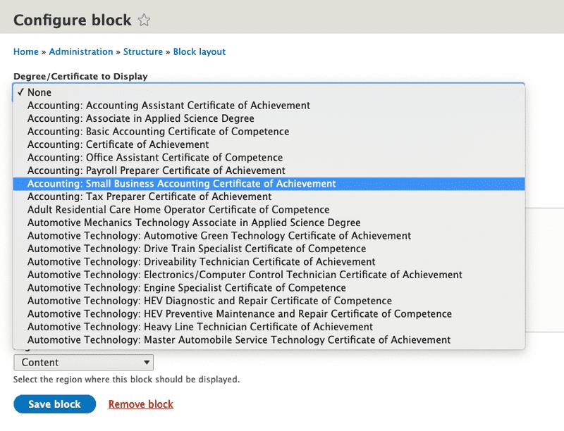 Clean Catalog Drupal 8 Module Degree List