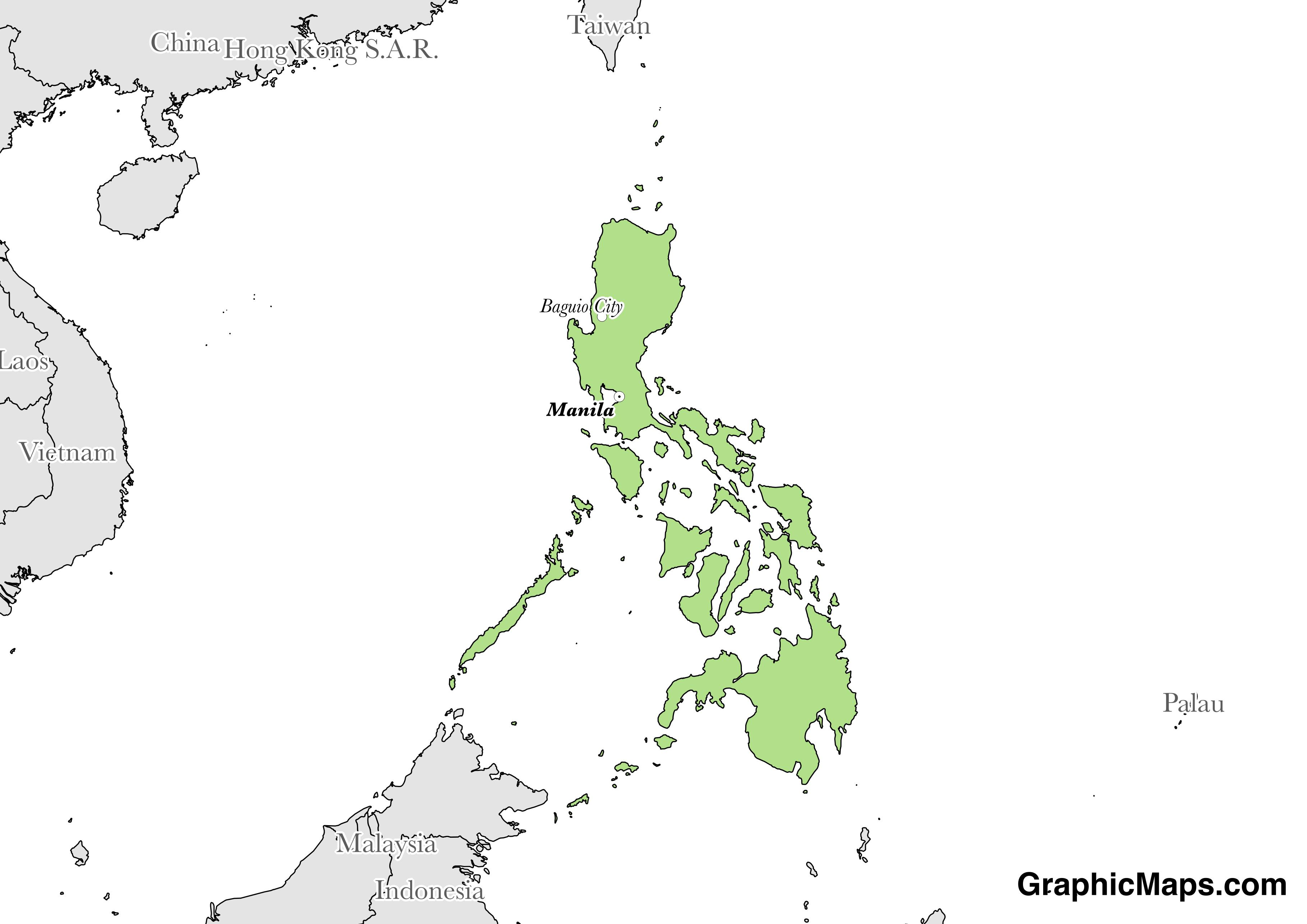 Map showing the location of Philippines