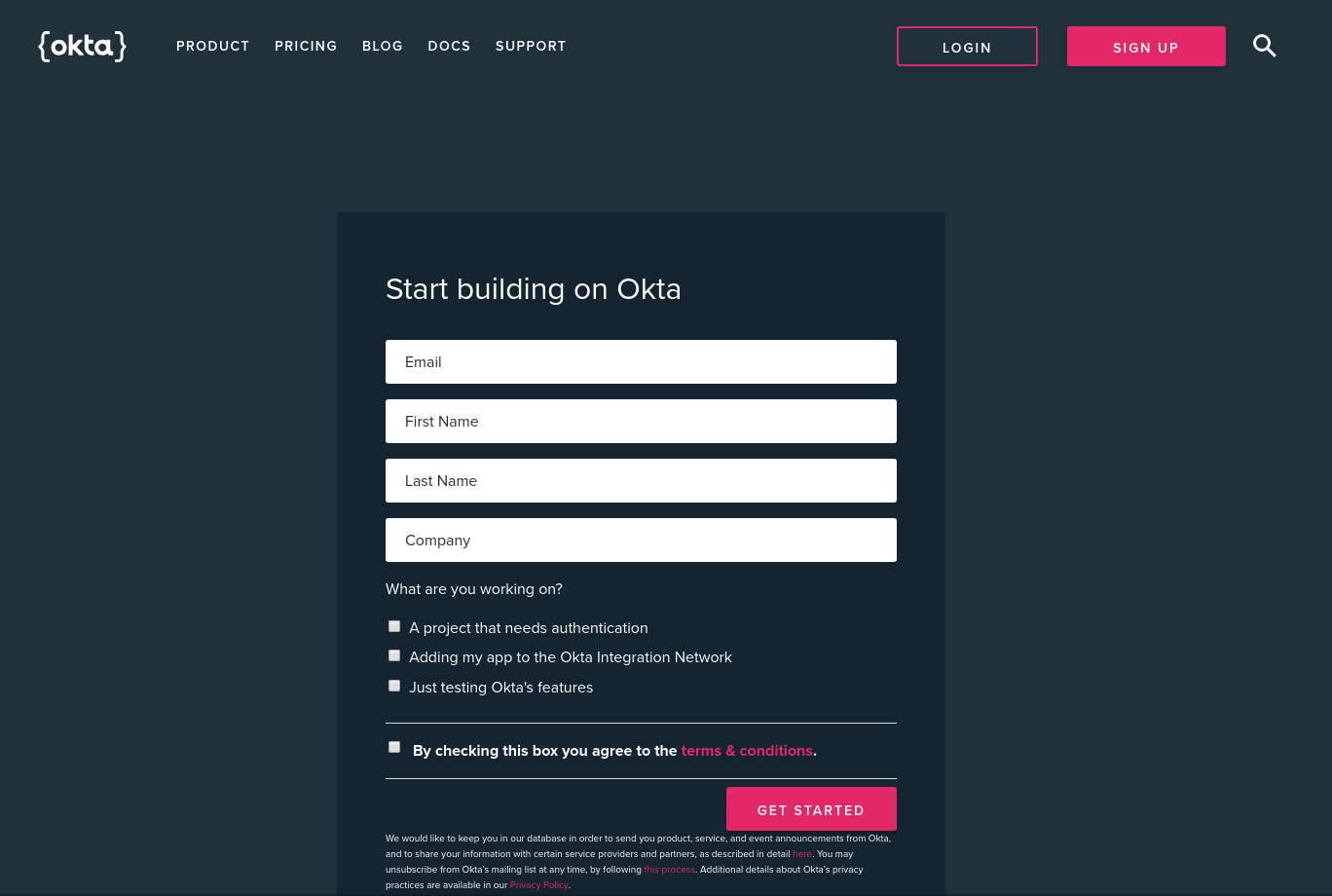 Create Okta Developer Account