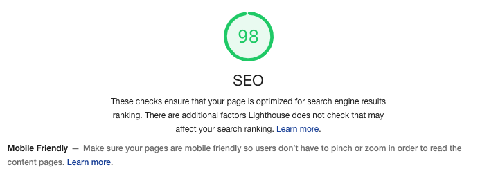 google lighthouse display SEO