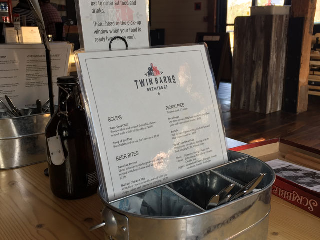 Twin Barns Brewpub food menu