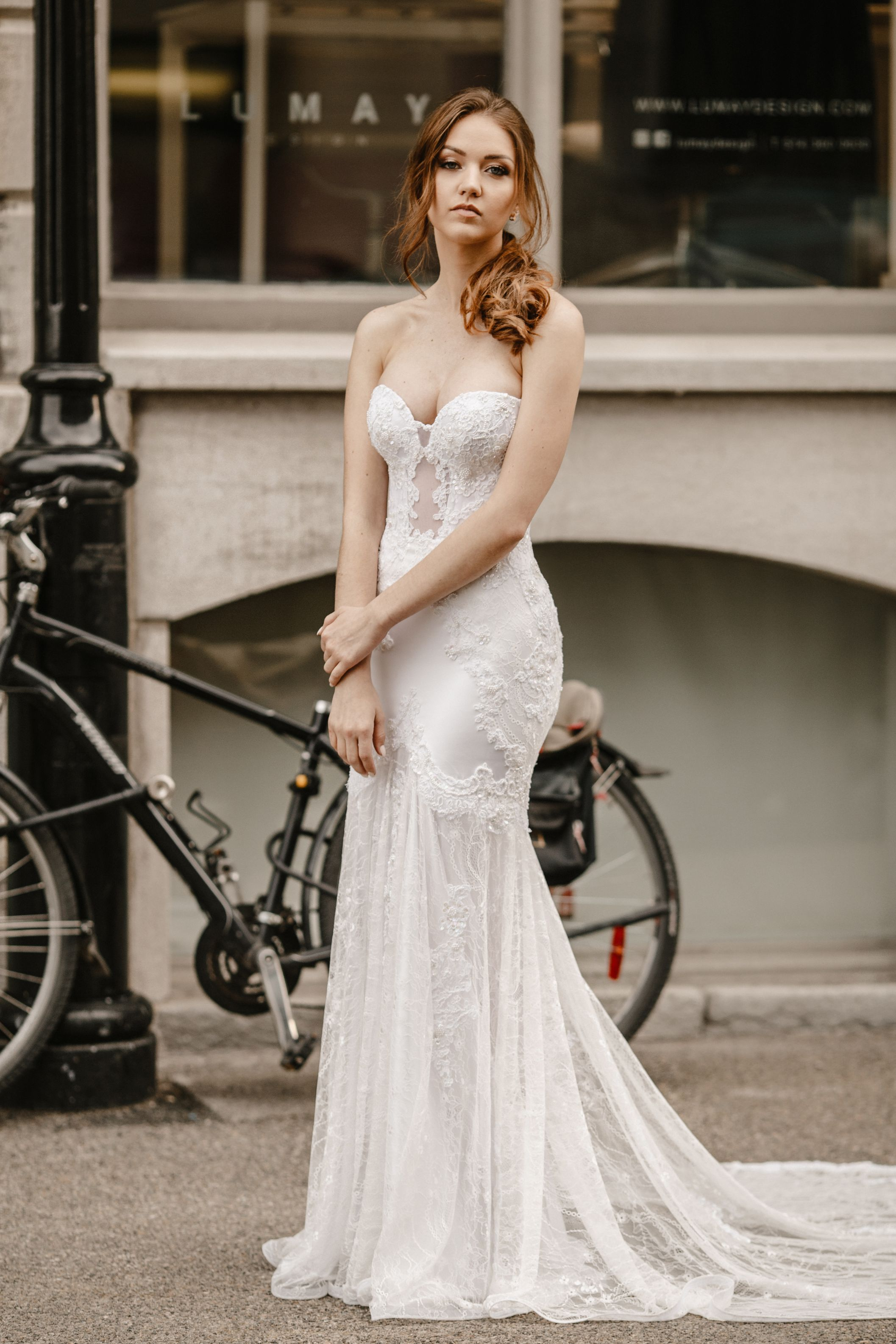 french lace chantilly lace wedding dress fit and flare corset lilia haute couture
