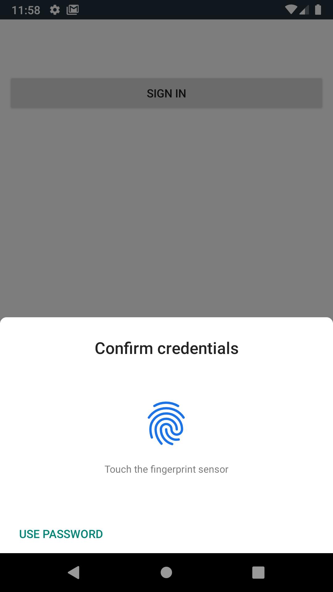 Android fingerprint prompt