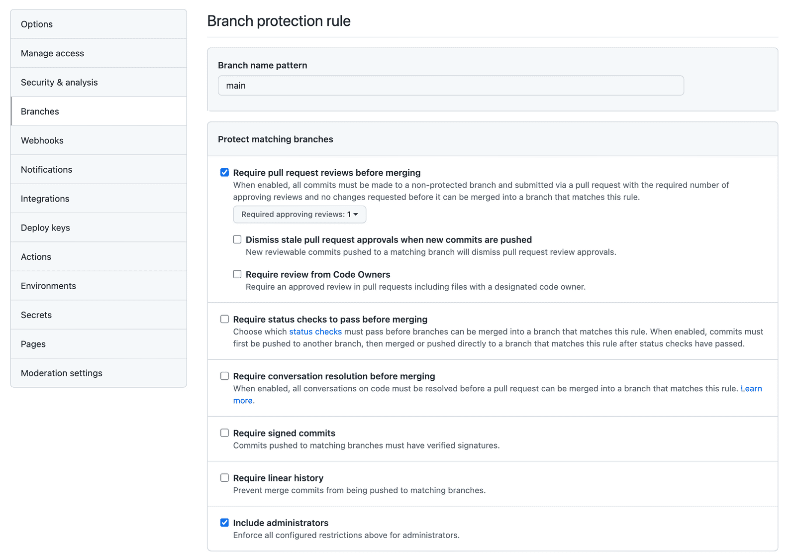 Enabling branch protection rules in Github