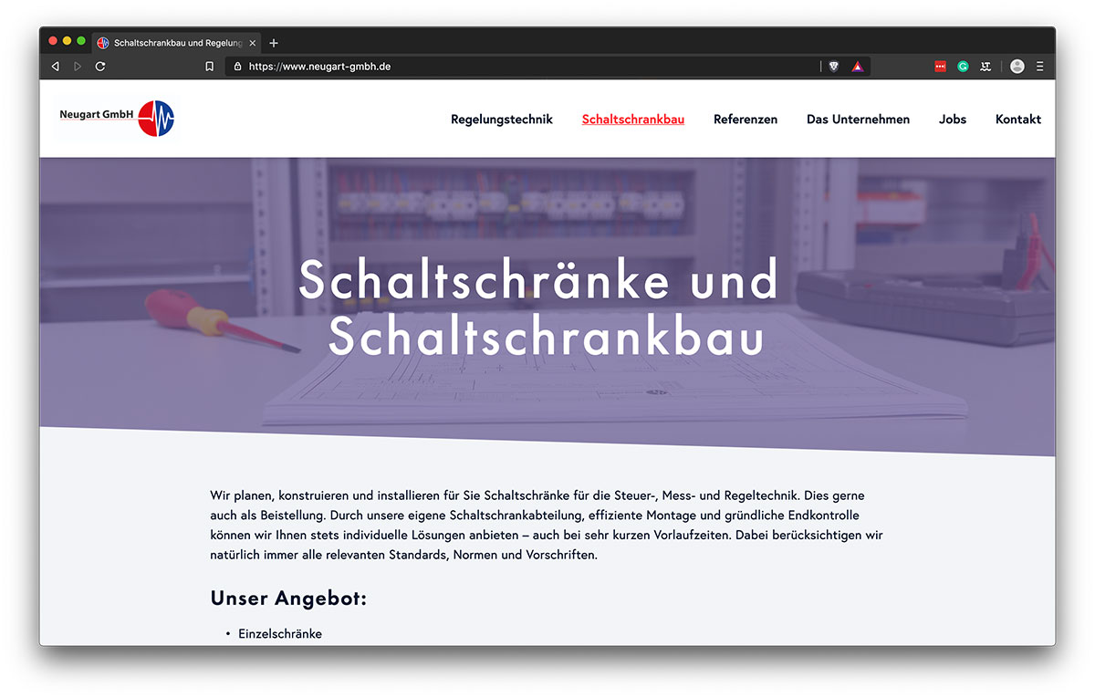 Webdesign Freiburg - KreativBomber - Neugart GmbH - Schaltschrankbau