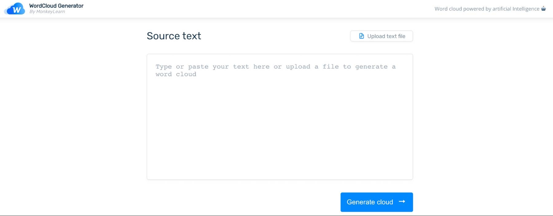 Text box to enter source text for your word visualization.