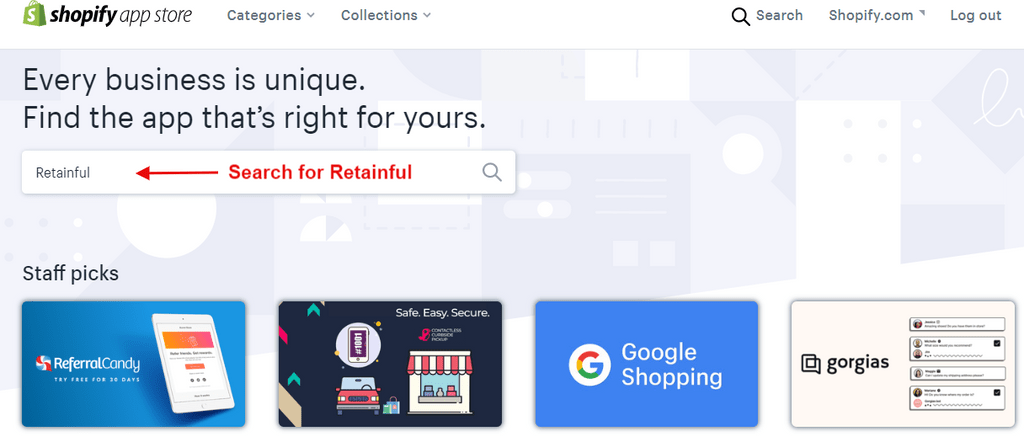 Shopify app store Search