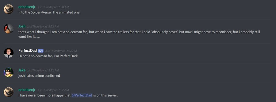 fun Discord conversation with Perfect Dad bot