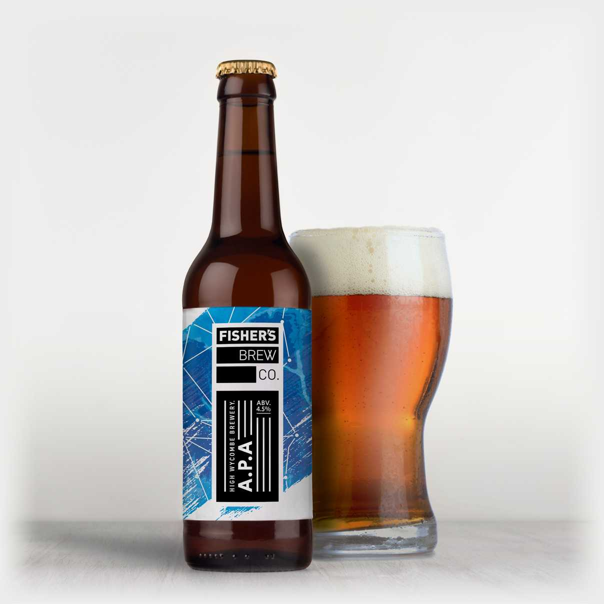 Fisher's branded APA bottle and glass of beer