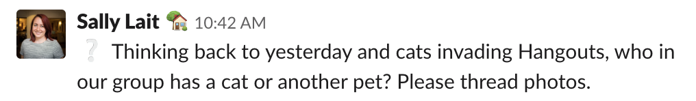 Screenshot of a Slack message including the grey question mark