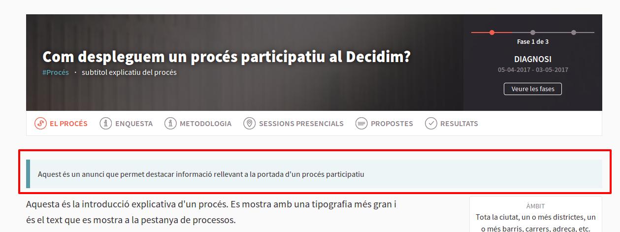 Anunci a la home d'un procés participatiu