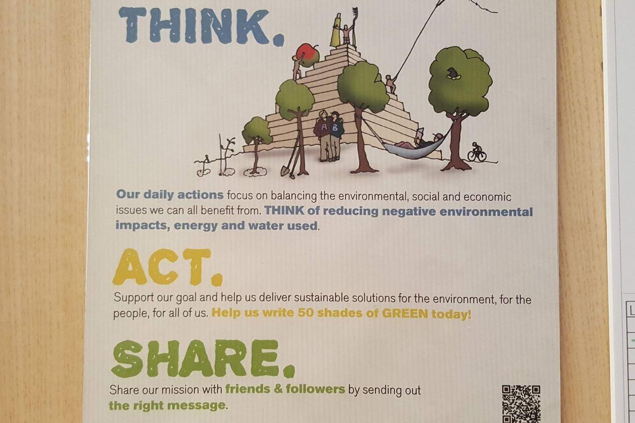 Ein Schild an der Tür des Hostelzimmers, das aufruft zu 'Think. Act.Share.'