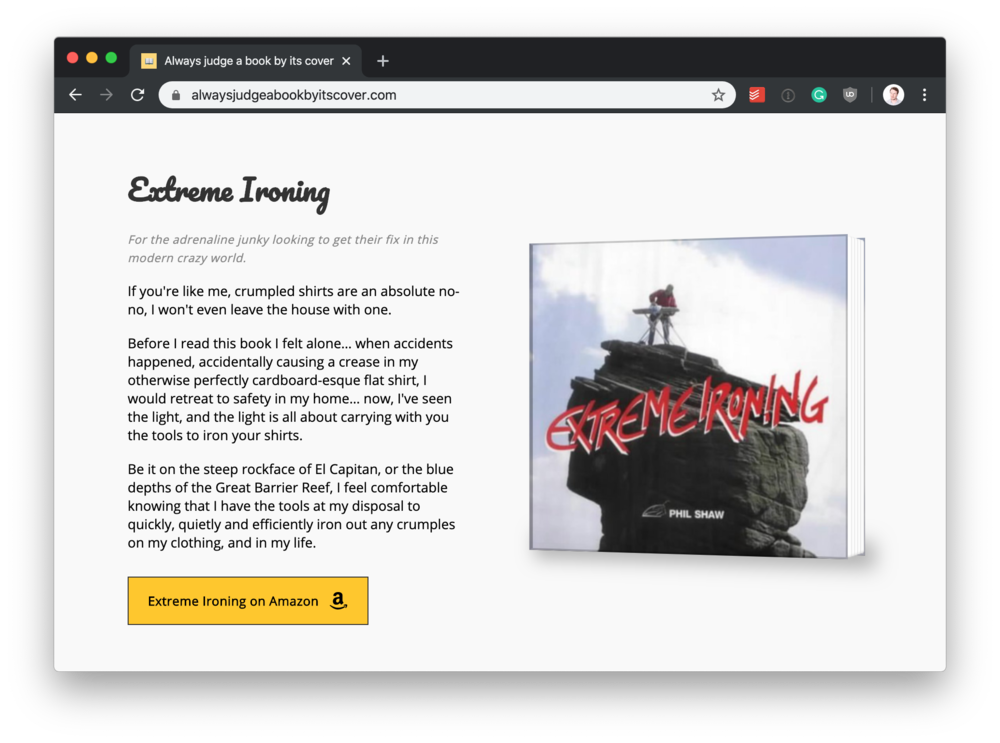 book titled extreme ironing
