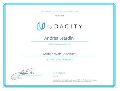 Certificato Mobile Web Specialist di Udacity rilasciato ad Andrea Leardini