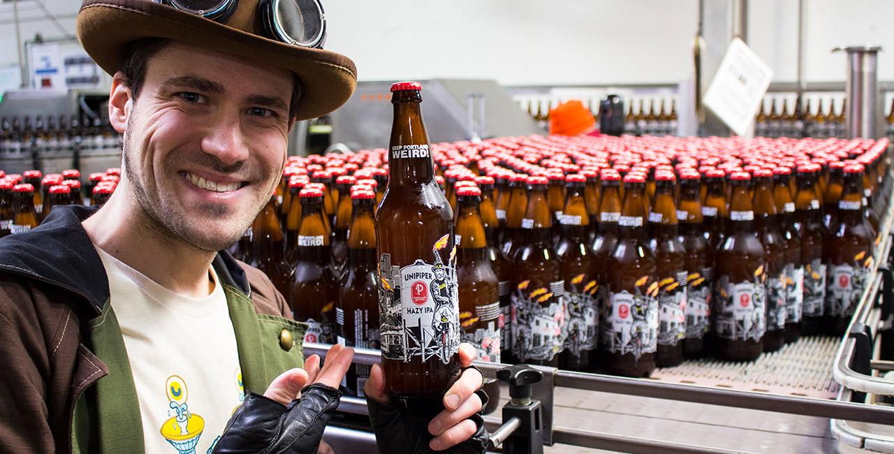 Unipiper in front of the bottling line