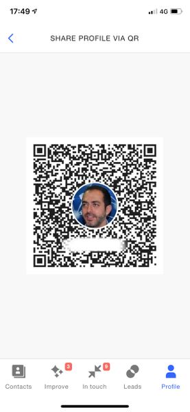 Screenshot of profile QR
